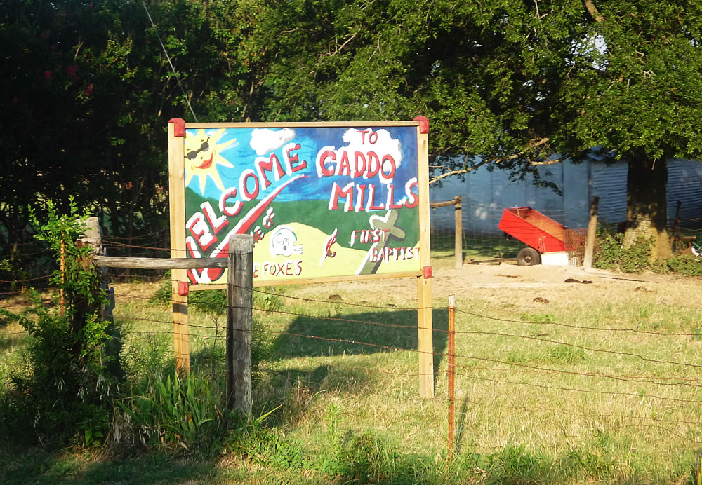 The handmade welcome sign for Caddo Mills, TX.