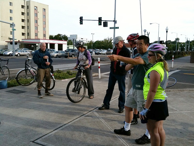 Eric and Robert chat with some of the great folks who stopped in to Breakfast on Bikes
