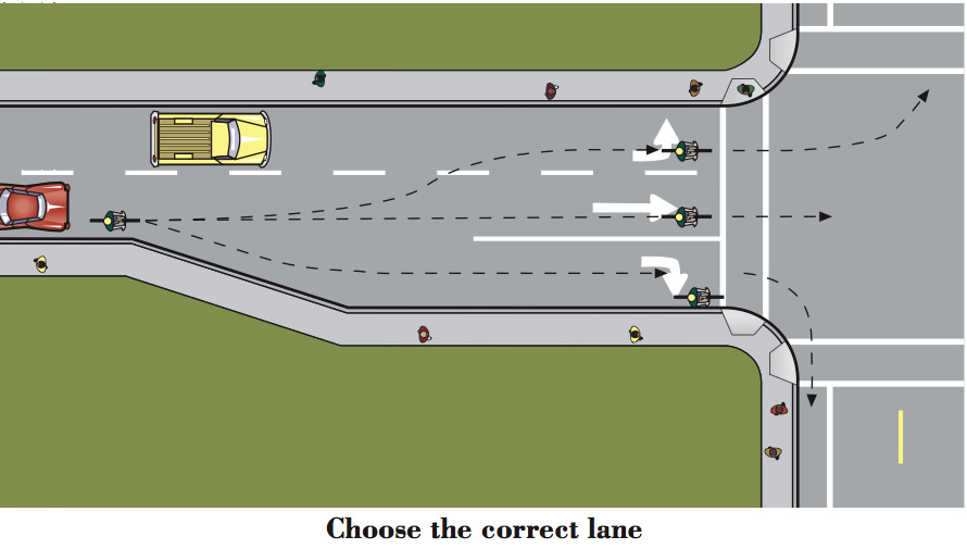 An illustration from the Oregon DMV Bike Manual....worth a read if you haven't ever looked at it, or haven't looked at it lately.