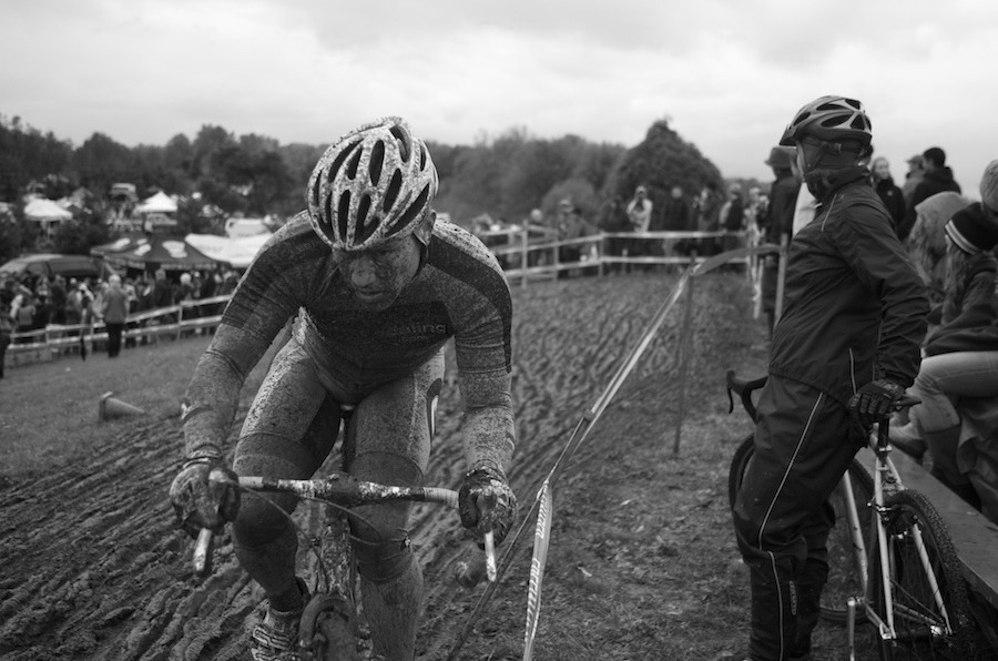 Pat working a tough, muddy off camber section at PIR. Photo copyright PDXCross.